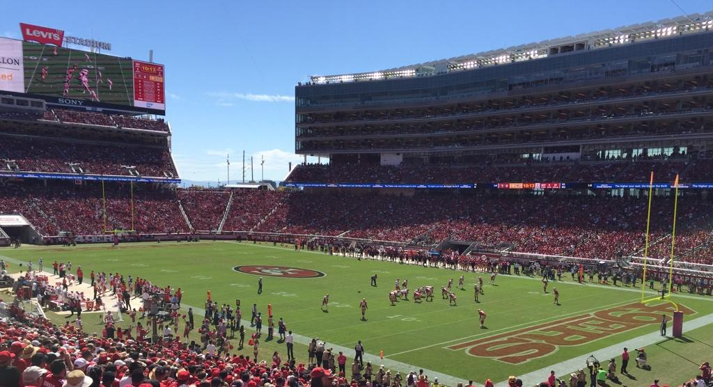 Seat view from section 107 at Levi's Stadium, home of the San Francisco 49ers