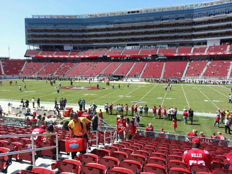 Seat view from section 111 at Levi's Stadium, home of the San Francisco 49ers