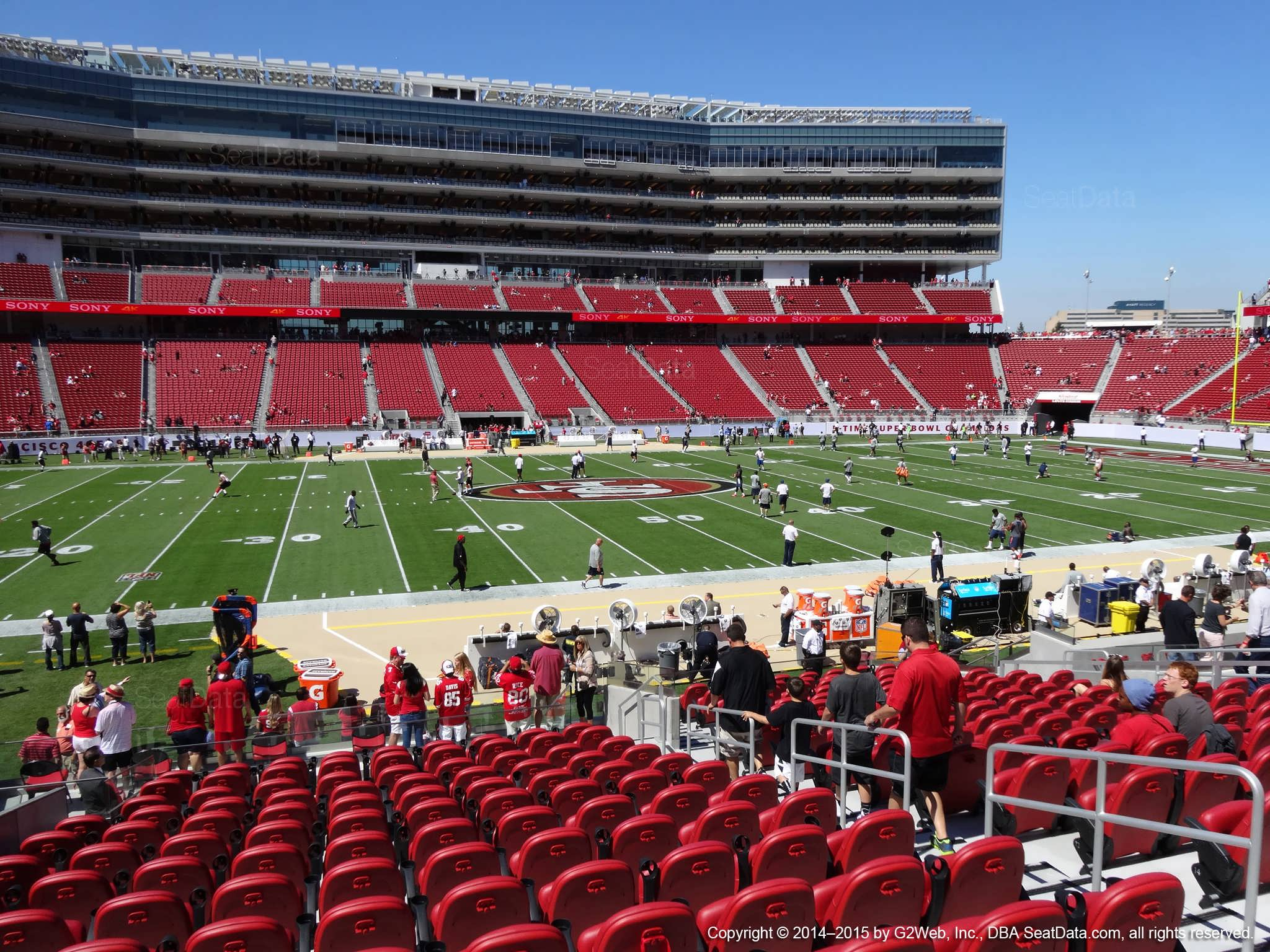 Seat view from section 117 at Levi's Stadium, home of the San Francisco 49ers