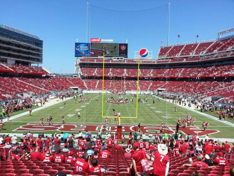 Seat view from section 127 at Levi's Stadium, home of the San Francisco 49ers