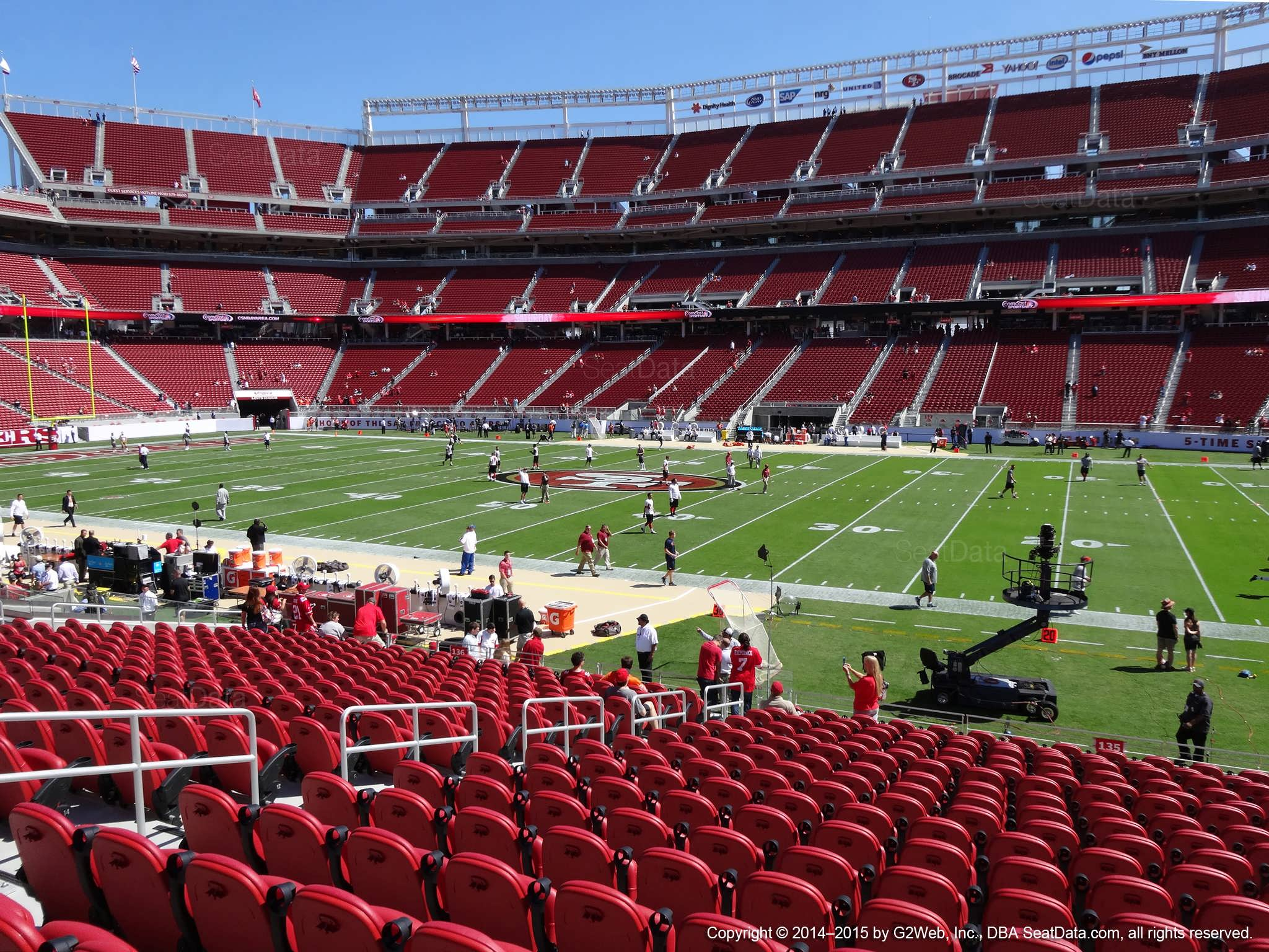 Seat view from section 135 at Levi's Stadium, home of the San Francisco 49ers