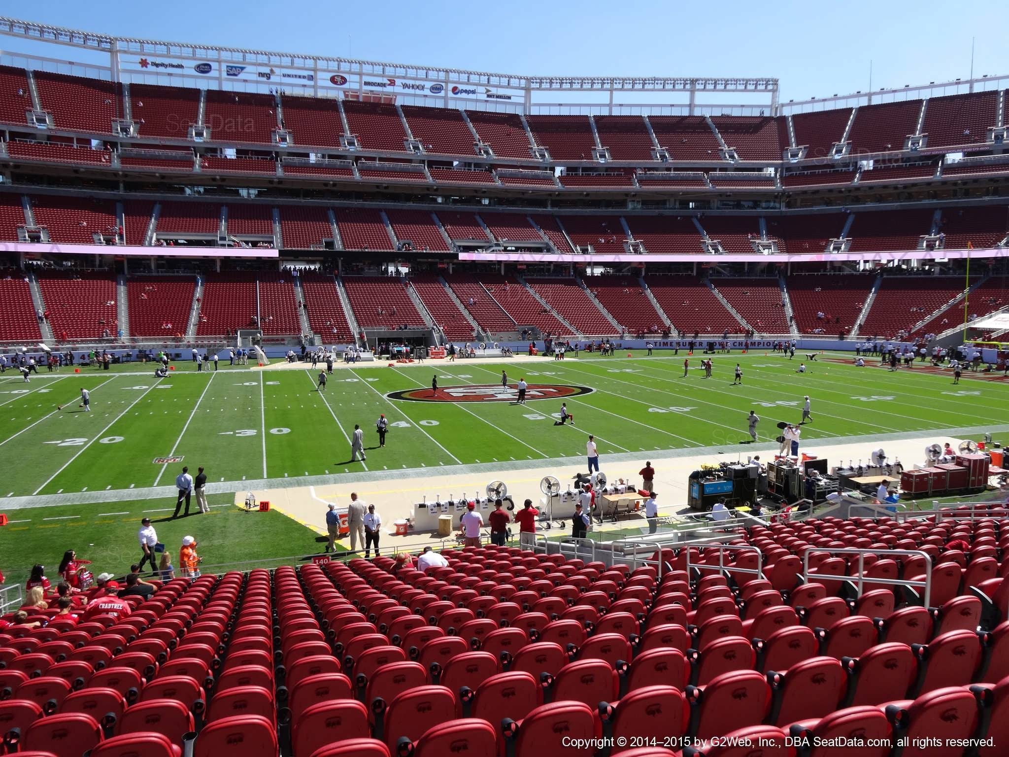 Seat view from section 140 at Levi's Stadium, home of the San Francisco 49ers