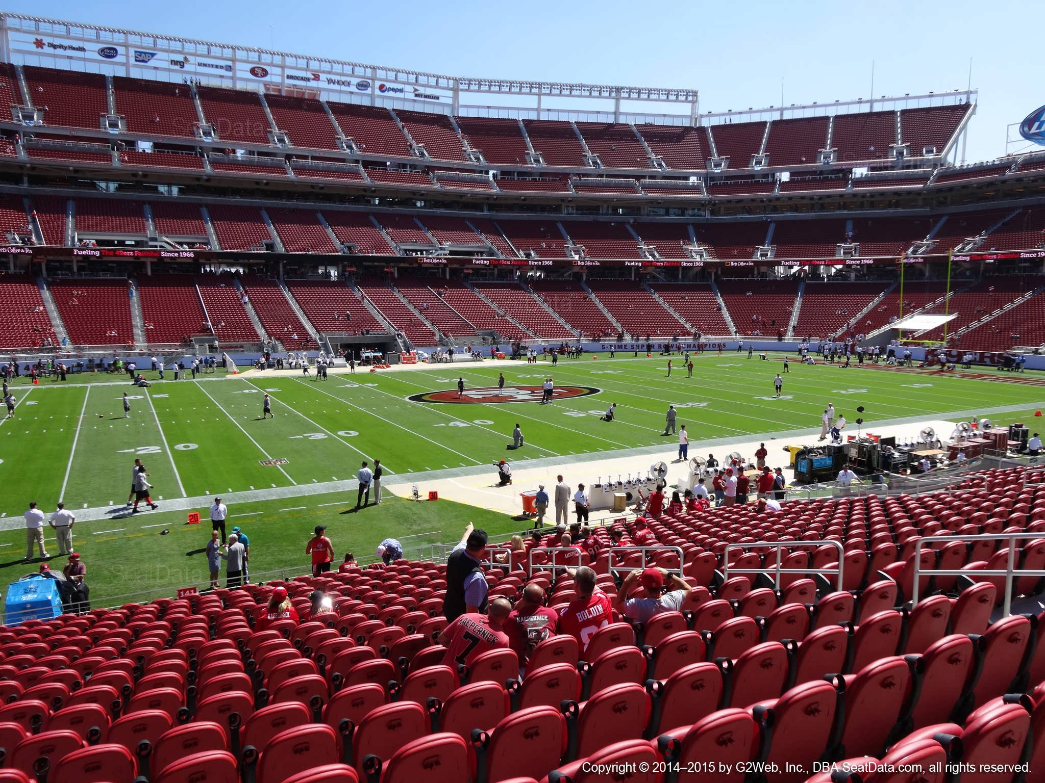 Seat view from section 141 at Levi's Stadium, home of the San Francisco 49ers