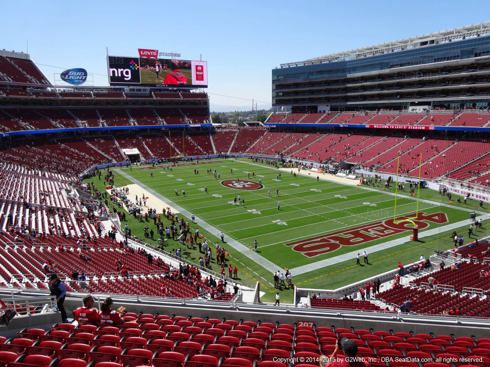 Seat view from section 207 at Levi's Stadium, home of the San Francisco 49ers