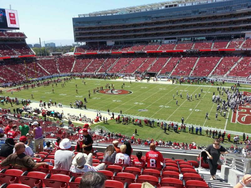 Seat view from section 211 at Levi's Stadium, home of the San Francisco 49ers