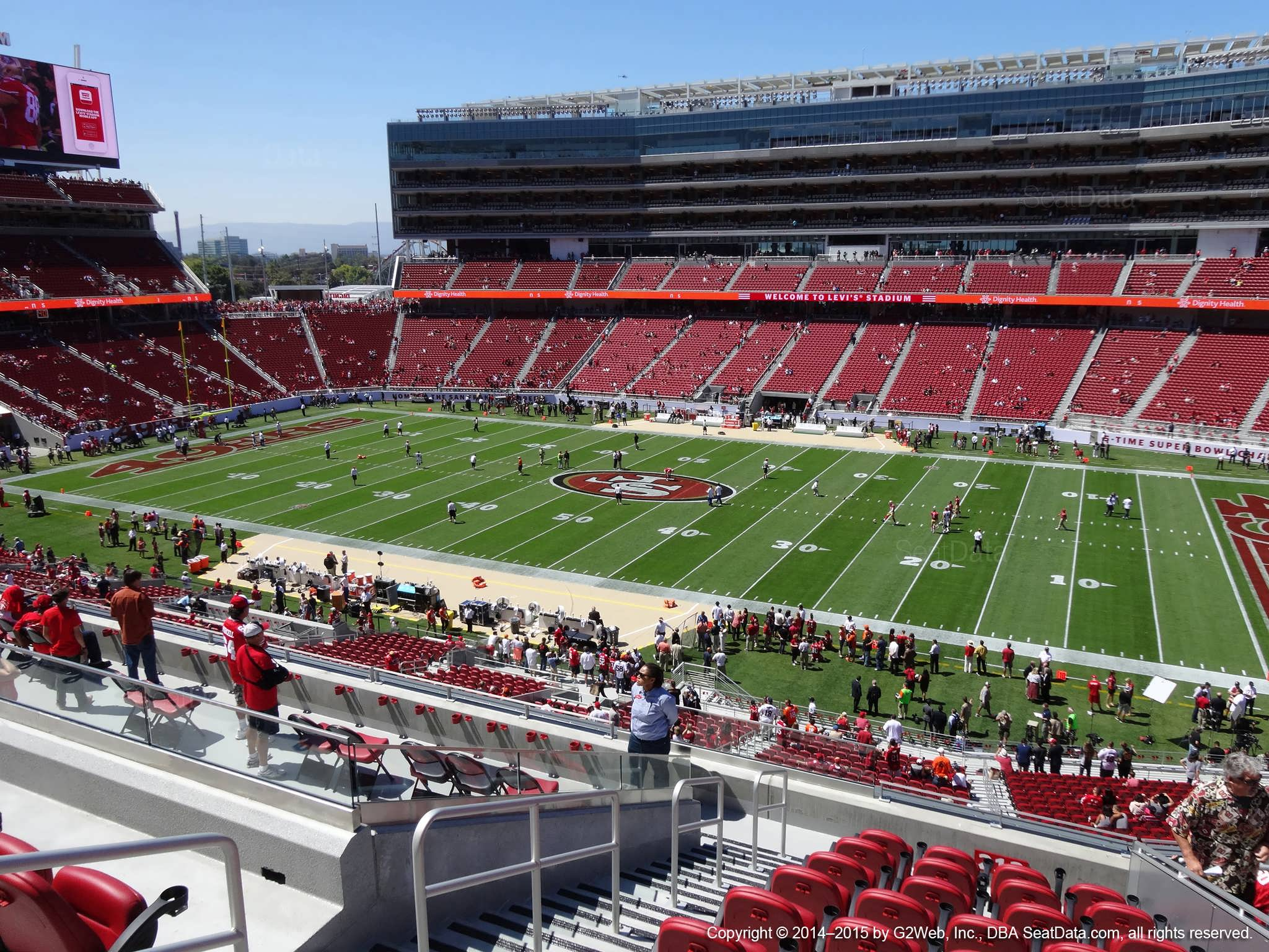 Seat view from section 212 at Levi's Stadium, home of the San Francisco 49ers