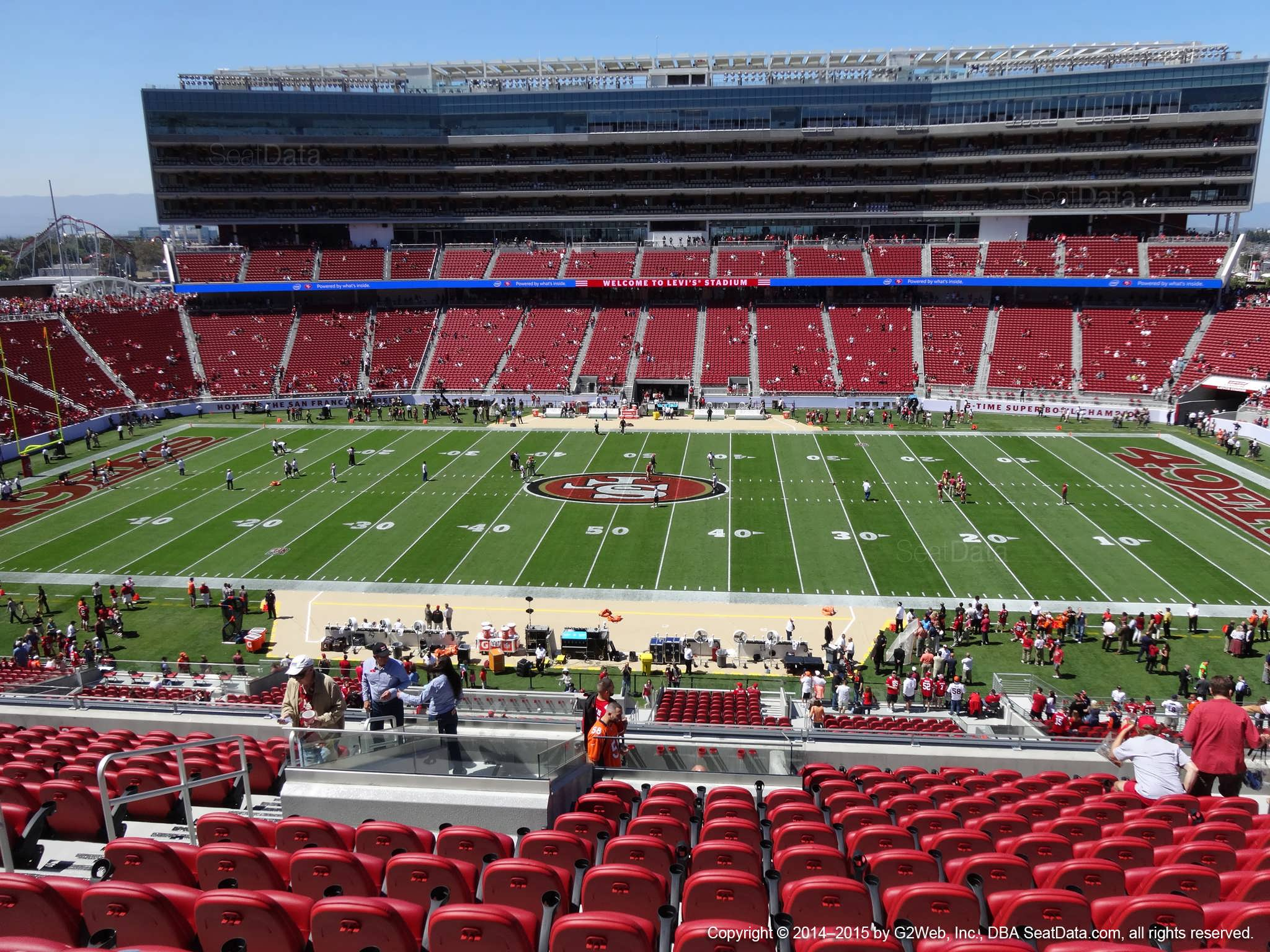 Seat view from section 215 at Levi's Stadium, home of the San Francisco 49ers