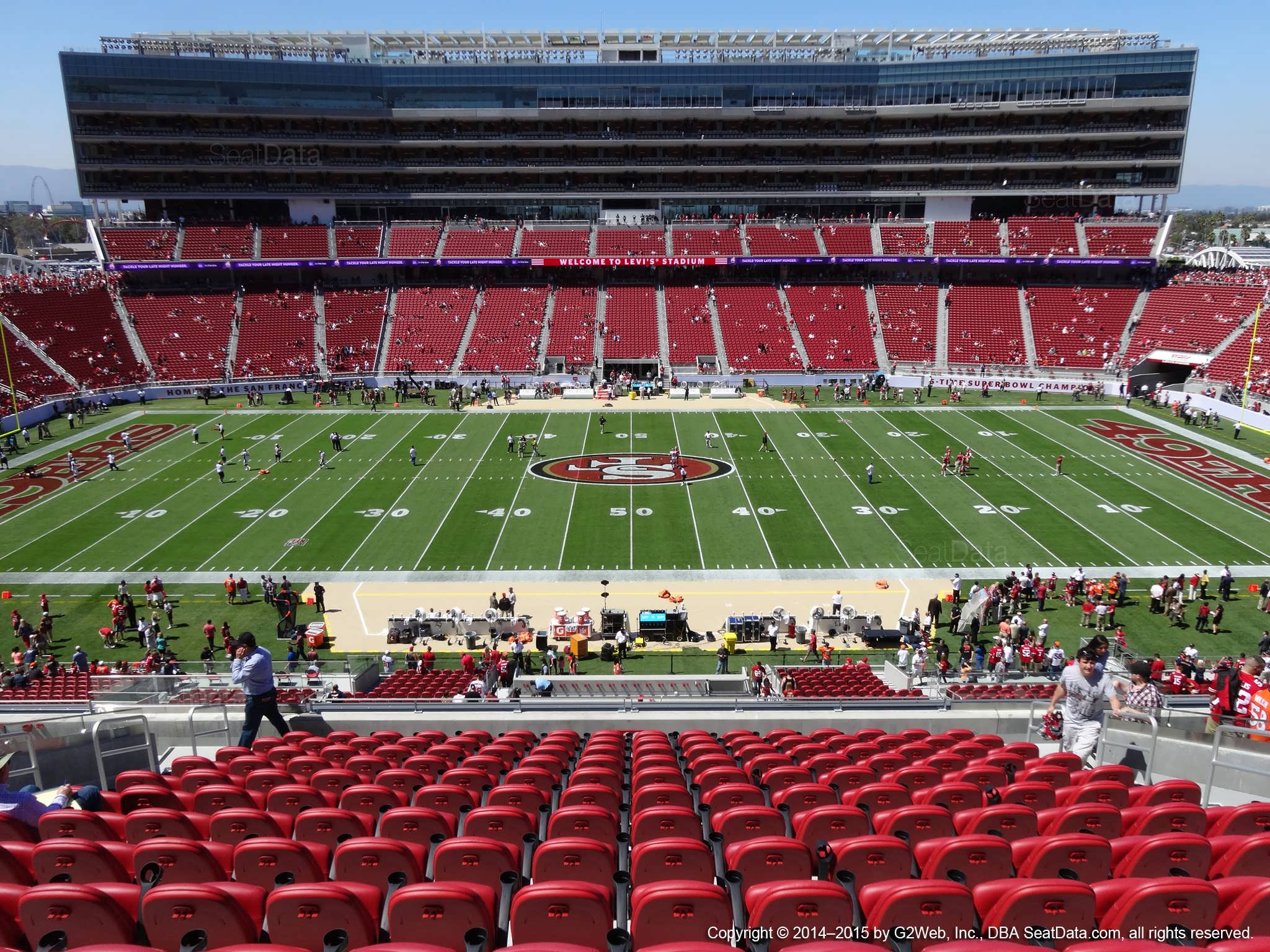 Seat view from section 216 at Levi's Stadium, home of the San Francisco 49ers