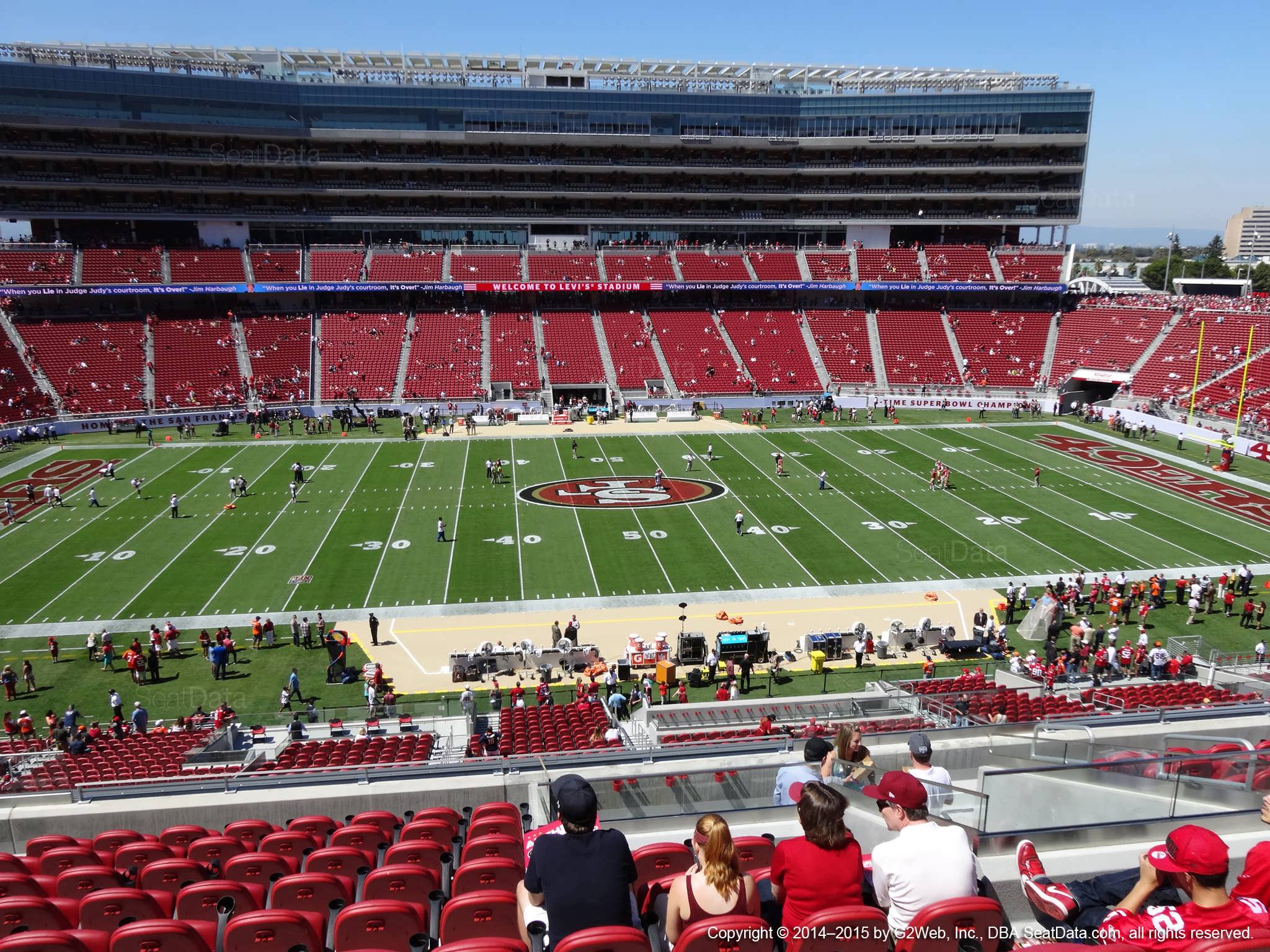 Seat view from section 217 at Levi's Stadium, home of the San Francisco 49ers