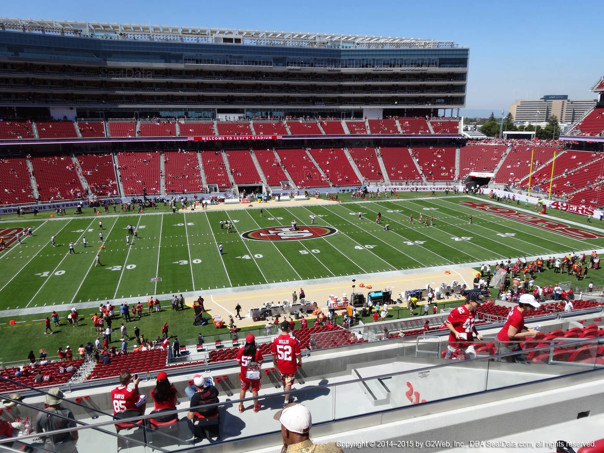 Seat view from section 218 at Levi's Stadium, home of the San Francisco 49ers