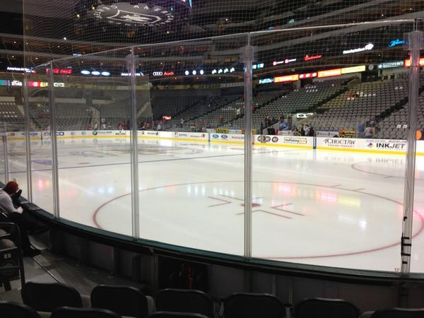 Photo of a Dallas Stars game taken from the lower level of the American Airlines Center.