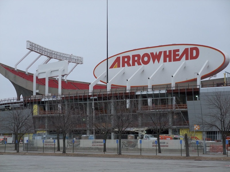 Exterior photo of Arrowhead Stadium in Kansas City, Missouri. Home of the Kansas City Chiefs.