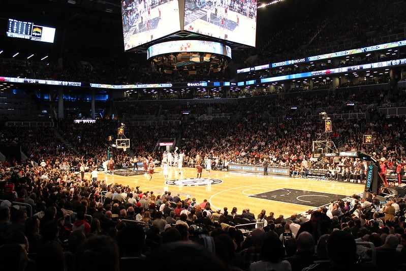 Photo taken from the lower level of the Barclays Center during a Brooklyn Nets home game.