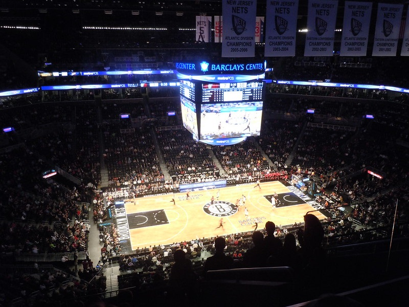 Photo taken from the upper level of the Barclays Center during a Brooklyn Nets home game.