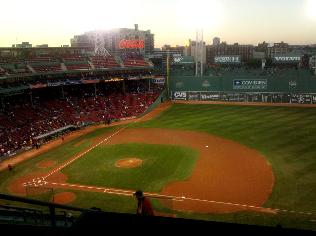View from Standing Room Only area at Fenway Park, home of the Boston Red Sox