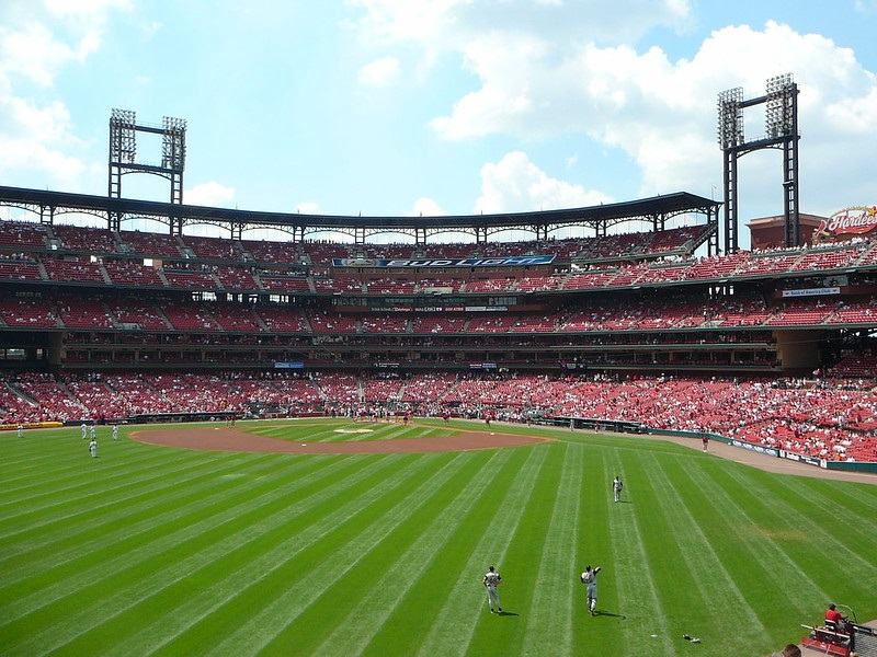 Photo taken from the bleacher seats at Busch Stadium during a St. Louis Cardinals home game.
