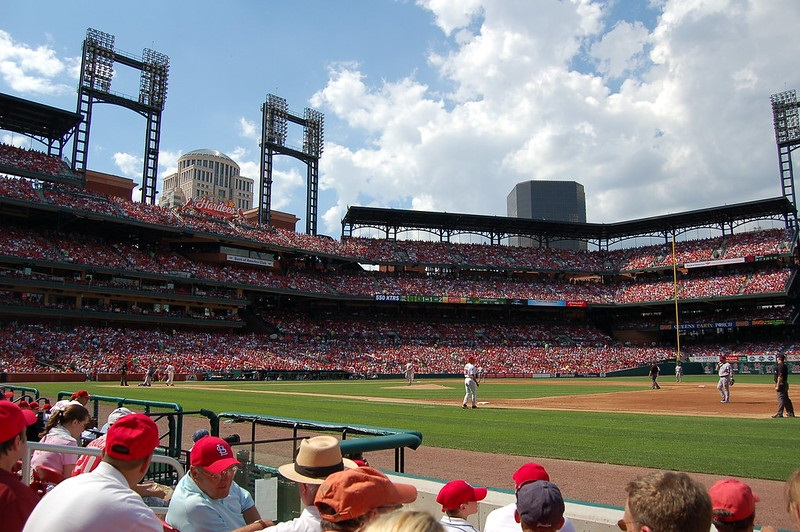 Photo taken from the Commissioner's Box seats at Busch Stadium during a St. Louis Cardinals home game.