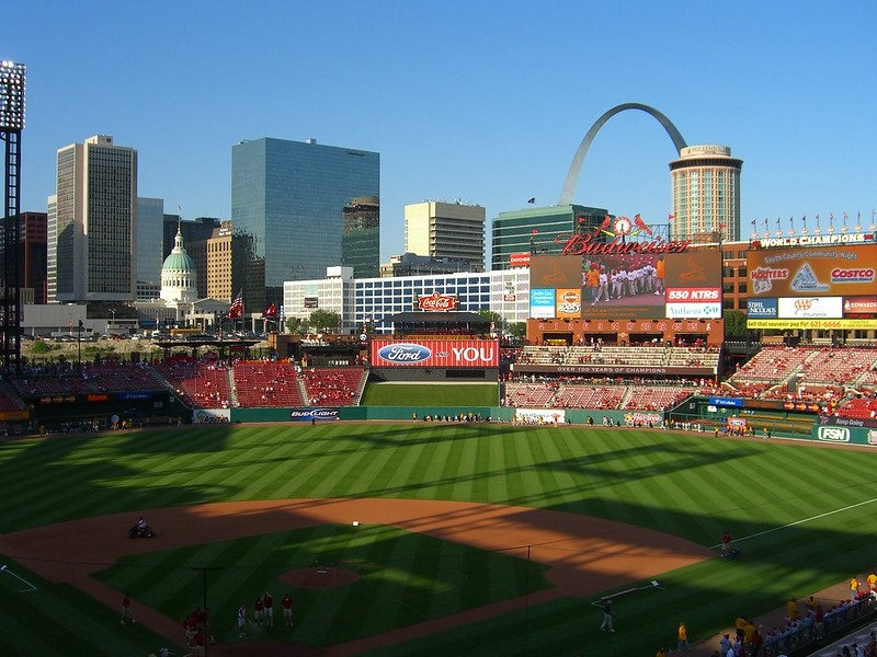 Photo taken from the loge level seats at Busch Stadium. Home of the St. Louis Cardinals.