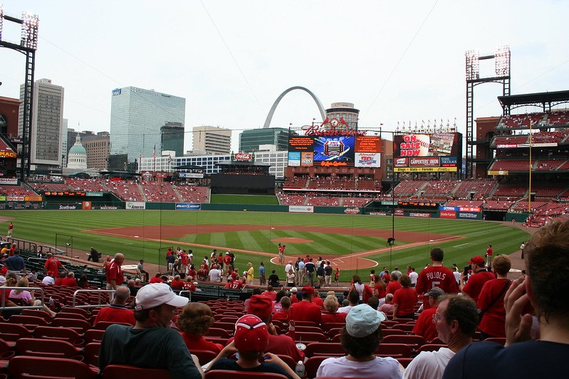 Photo taken from the lower level seats at Busch Stadium during a St. Louis Cardinals home game.
