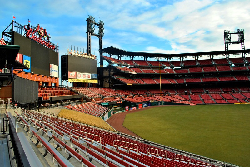 Photo of the outfield bleachers at Busch Stadium. Home of the St. Louis Cardinals.