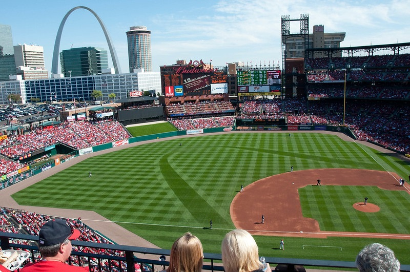 Photo taken from the pavilion level seats at Busch Stadium during a St. Louis Cardinals home game.