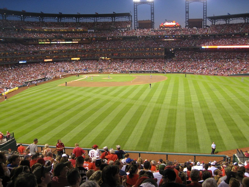 Photo taken from the Powerade Bridge area at Busch Stadium during a St. Louis Cardinals home game.