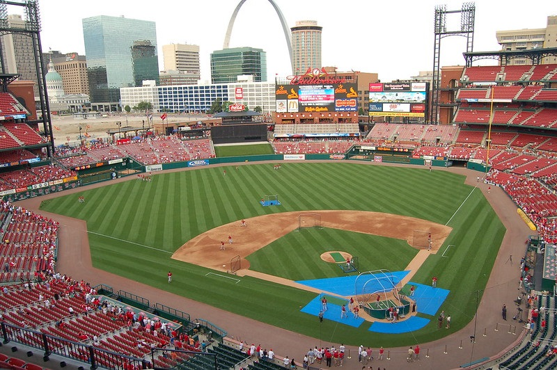 Photo taken from the terrace level seats at Busch Stadium during a St. Louis Cardinals home game.