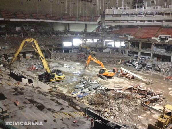 An interior photo of the Civic Arena following demolition.