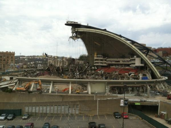 An exterior photo of the Civic Arena demolition.