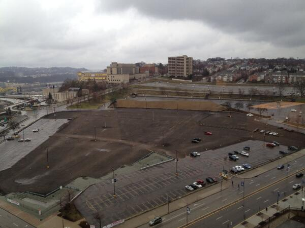 Photo of the former site of Civic Arena post demolition.