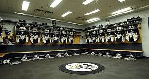 Photo of the old Pittsburgh Penguins locker room at Civic Arena.