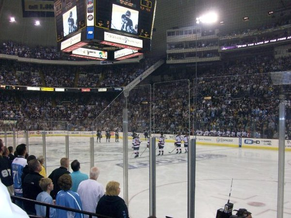 Photo of the glass seats at Mellon Arena.