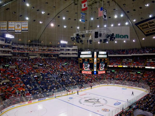 Photo of the ice at Civic Arena from the upper level.