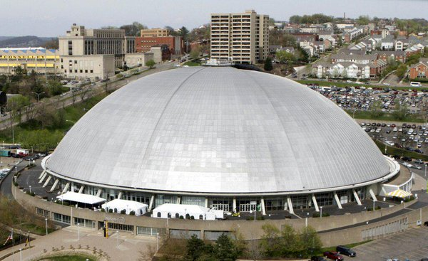 Aerial photo of Mellon Arena in Pittsburgh, Pennsylvania.