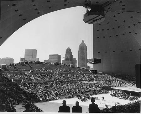 A rare photo of the Civic Arena roof open during a Pittsburgh Penguins game.