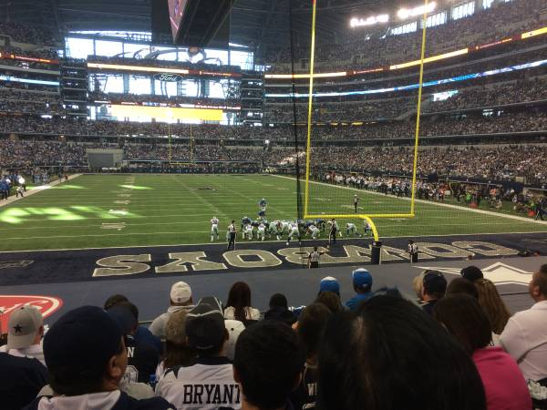 Seat view from section 124 at AT&T Stadium, home of the Dallas Cowboys