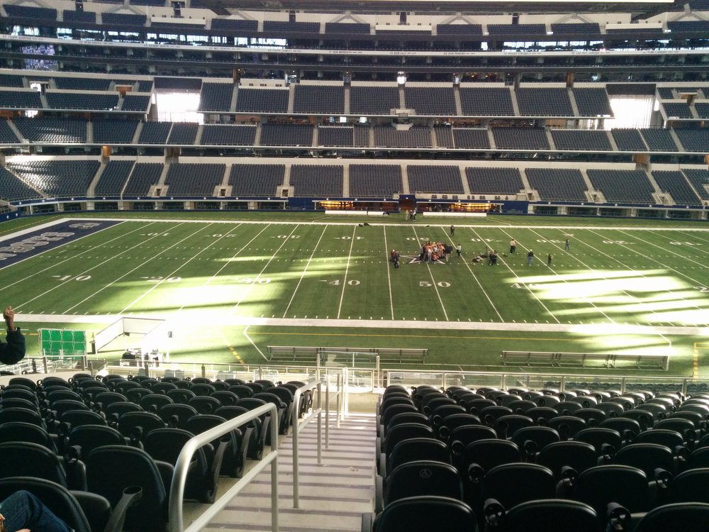 Seat view from section 136 at AT&T Stadium, home of the Dallas Cowboys
