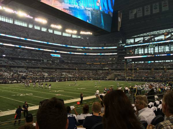 Seat view from section 142 at AT&T Stadium, home of the Dallas Cowboys
