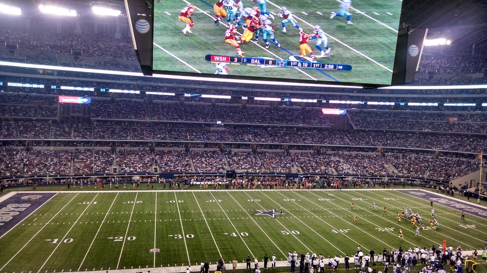 Seat view from section 212 at AT&T Stadium, home of the Dallas Cowboys
