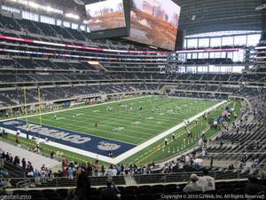 Seat view from section 218 at AT&T Stadium, home of the Dallas Cowboys