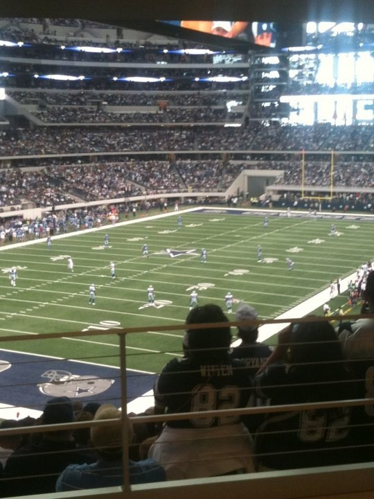 View from the Party Pass/Standing Room Only area at AT&T Stadium, home of the Dallas Cowboys.