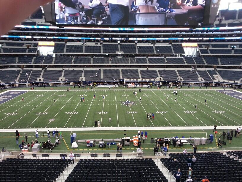 Seat view from section 211 at AT&T Stadium, home of the Dallas Cowboys