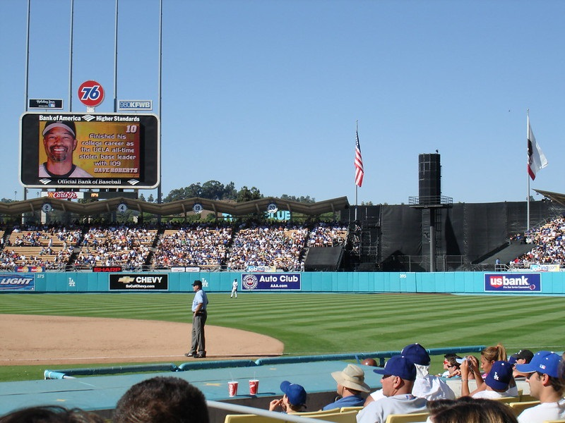 Photo taken from the Baseline Club seats at Dodger Stadium during a Los Angeles Dodgers game.
