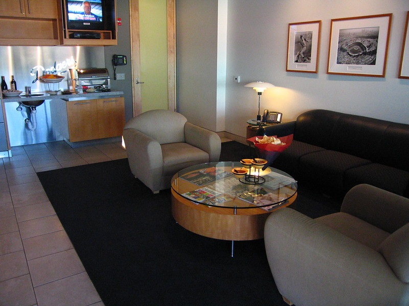 Photo of the interior of a luxury suite at Dodger Stadium. Home of the Los Angeles Dodgers.