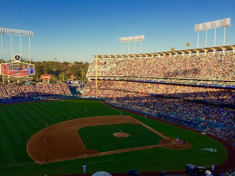Photo taken from the Executive Club seats at Dodger Stadium during a Los Angeles Dodgers home game.