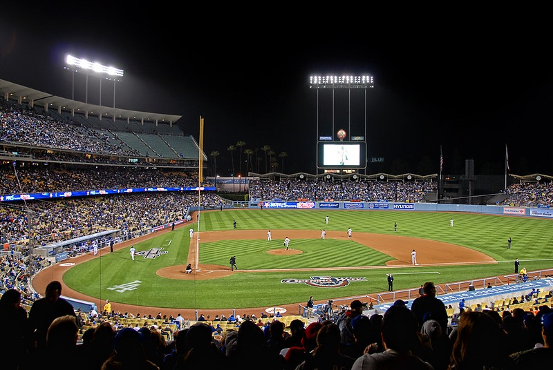 Photo taken from the field level seats at Dodger Stadium during a Los Angeles Dodgers home game.