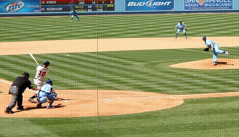 Photo taken from the Lexus Dugout Club seats at Dodger Stadium taken during a Los Angeles Dodgers home game.