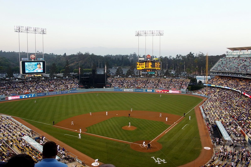 Photo taken from the loge level seats at Dodger Stadium during a Los Angeles Dodgers home game.