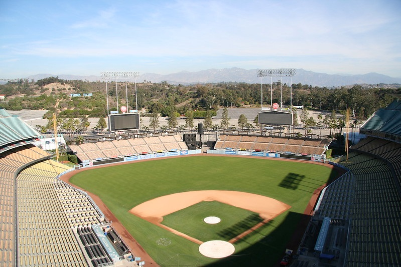 Photo taken from the reserve level seats at Dodger Stadium. Home of the Los Angeles Dodgers.