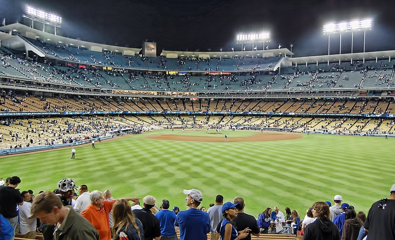Photo taken from the right field pavilion seats at Dodger Stadium during a Los Angeles Dodgers home game.